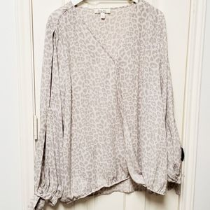 Krazy Kat Pink and Gray Leopard Print Blouse 3X